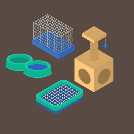 Isometric isolated set of dog items elements. Pet icons feeding equipment. Healthy nutrition, toilet and carriage. Water tank, cage and scratching post Illustration