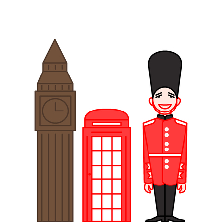 Man in Traditional Uniform, British Guard Soldier in line style. Outline landmarks Big Ben and red telephone booth Иллюстрация