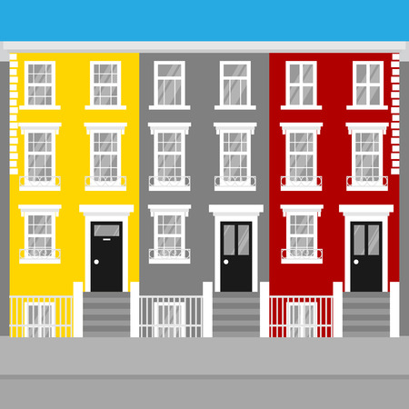 Colorful flat terraced town houses Notting Hill in London. England Travel icon landmark. United Kingdom architecture sightseeing. Illustration