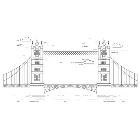 Outline Tower Bridge in London. England Travel icon landmark. United Kingdom architecture sightseeing. Illustration