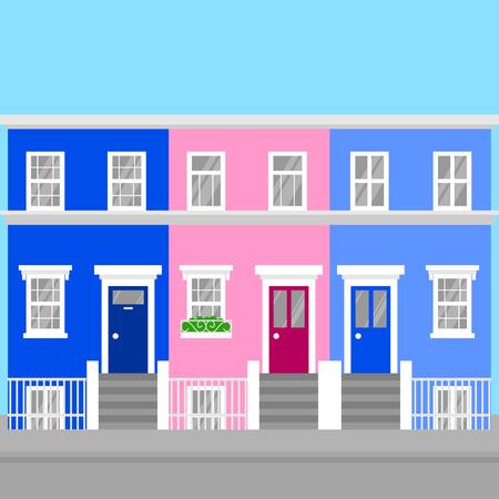 Coloridas casas adosadas planas de Notting Hill en Londres. Hito del icono de viajes de Inglaterra. Turismo de arquitectura de Reino Unido. Ilustración de vector