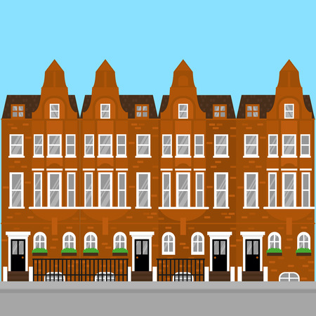 Residential aria of Kensington and Chelsea. Flat Luxury real estate in London. Landmark sightseeing britain buildings