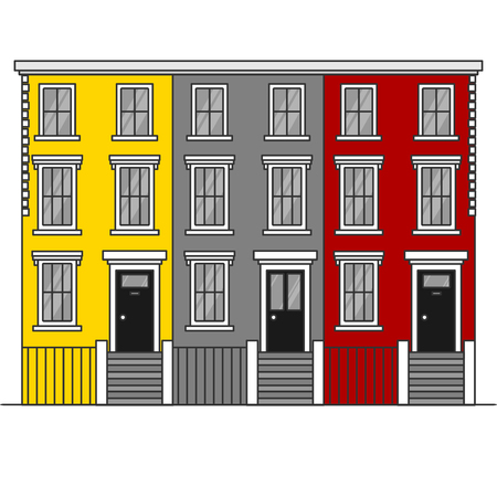 Colorful Outline terraced town houses Notting Hill in London. England Travel icon landmark. United Kingdom architecture sightseeing.