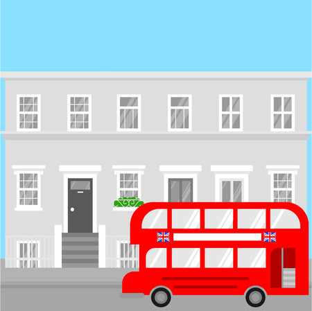 Red tourist double decker bus in London for sightseeing and british city visiting. Great Britain Europe tour