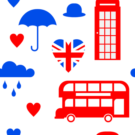 Flat symbol United Kingdom, London travel icon landmark seamless pattern Illustration