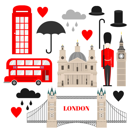 Flaches Symbol des Vereinigten Königreichs, Wahrzeichen der Londoner Reiseikone. Stadtarchitektur England. Welt Europa Großbritannien reisen Urlaub Sightseeing. Vektorgrafik