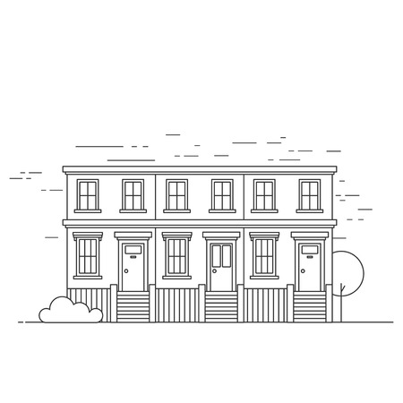 Outline terraced town houses Notting Hill in London. England Travel icon landmark. United Kingdom architecture sightseeing. Illustration