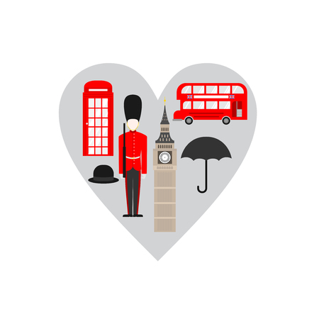 Flat building of United Kingdom, London travel icon landmark. City architecture England. World Europe Great Britain travel vacation sightseeing in heart shape Иллюстрация