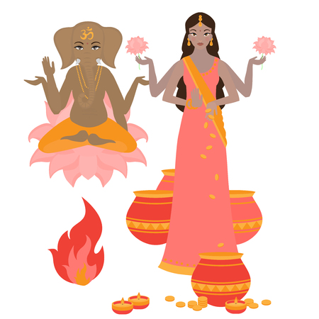 Goddess Lakshmi and Lord Ganesha, Holiday background for light festival of India. Happy Diwali card Illustration