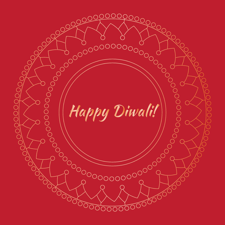 Hindu holiday greeting card with indian elements. Light festival of India Happy Diwali