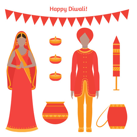holiday greeting card. Light festival of India Happy Diwali. Indian family with candles and fireworks