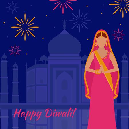 Holiday greeting card. Light festival of India Happy Diwali. Woman in indian sari. Taj Mahal fireworks
