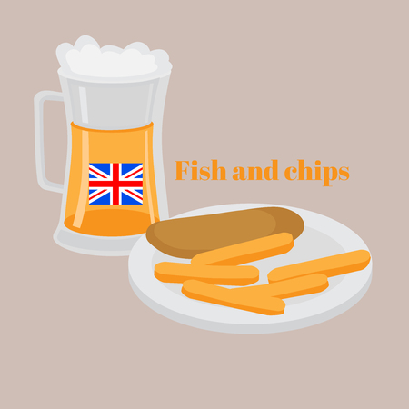 Street food Fish and chips. Traditional british hot dish fried fish, potato chips. Beer pub in London.