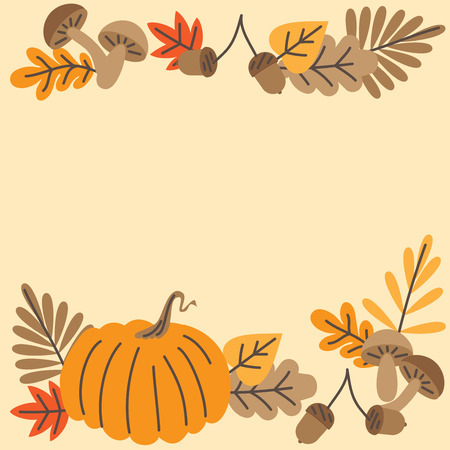 Hand drawn Autumn leaves, mushrooms, acorns and pumpkin, fall forest nature frame.