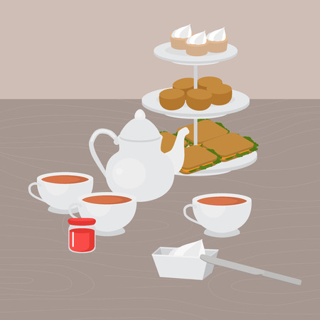 Nachmittagstee-Party, Tablett mit hausgebackenen Scones, Sandwiches und Supcakes. Erdbeermarmelade und Clotted Cream. Devonshire Sahne-Tee