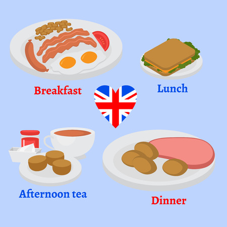London cafe menu. English breakfast, lunch and dinner plate with sausage, egg, becon and beans. Traditional Afternoon tea and toasted bread. Meat and sandwich.
