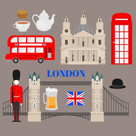Flat symbol of United Kingdom, London travel icon landmark and traditional food. City architecture England. World Europe Great Britain travel vacation sightseeing.