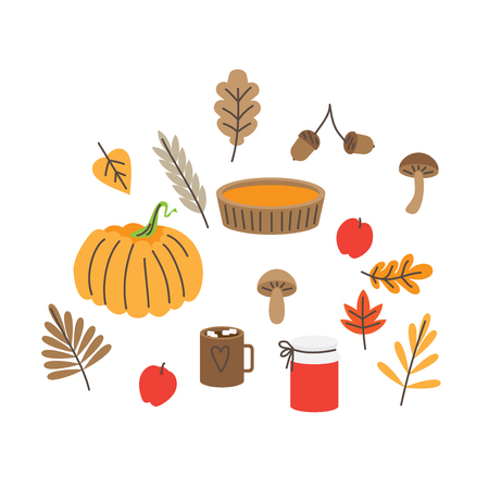 Autumn leaves, mushrooms and acorns, fall forest nature. Pumpkin pie and jam. Thanksgiving set.