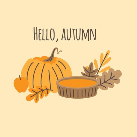 Hand drawn Autumn leaves, fall forest nature. Pumpkin pie. Hello autumn card Иллюстрация