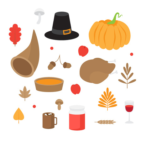 Autumn leaves, mushrooms and acorns, fall nature. Happy Thanksgiving Day set. Pumpkin pie, Turkey and Horn.