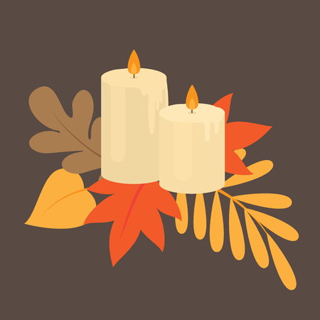 Autumn leaves and burning aromatic candles, fall nature. Thanksgiving card.
