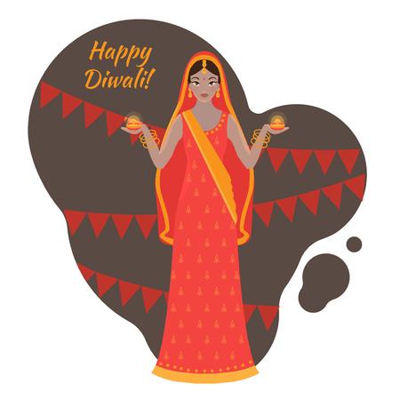 Hindu holiday greeting card. Light festival of India Happy Diwali. Woman wearing traditional cloth sari Фото со стока