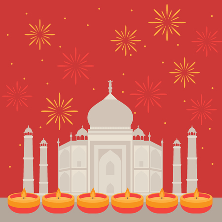 Hindu holiday greeting card with indian elements. Light festival of India Happy Diwali. Taj Mahal Temple Landmark in Agra with fireworks