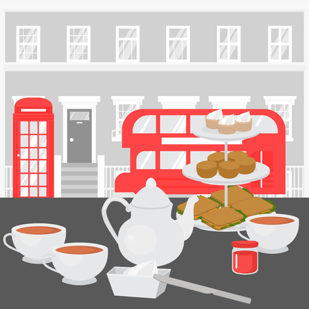 Afternoon Tea party in London, Tray with Home baked scones, sandwiches and supcakes. Devonshire cream tea in british cafe. Red tourist double decker sightseeing bus and phone booth Banque d'images - 109624320