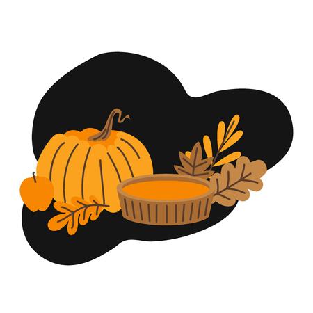 Hand drawn Autumn leaves, fall forest nature. Pumpkin pie. Hello autumn card.