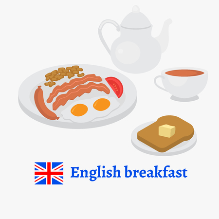 English breakfast plate with sausage, egg, becon, tomato and beans. Traditional tea and toasted bread. London cafe menu.