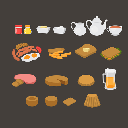 British cafe menu elements set. English breakfast, lunch and dinner. Sausage, egg, becon and beans. Meat and sandwich. Fish and chips, pastry and pudding. London tea.