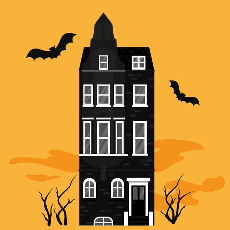 Halloween night background with creepy castle and bats for banner, greeting card celebration, Scary hut house party poster. Spooky mansion silhouette
