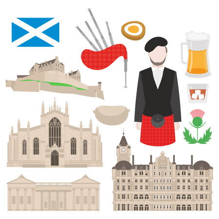 Flat building in Scotland, United Kingdom. Sightseeing and landmark. St Giles Cathedral, Balmoral Hotel and Edinburgh Castle. Traditional scottish food, Man bagpiper in kilt, flag and thistle sign