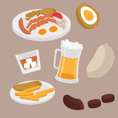 Scottish plate with sausage, egg, becon, tomato, mushrooms and beans. Edinburgh cafe menu. Street food Fish and chips. Beer pub in Scotland. Whiskey, Haggis and black pudding. Фото со стока