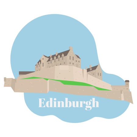 Flat building of Edinburgh Castle in Scotland, United Kingdom. Historic sight attraction sightseeing. Travel icon landmark. City architecture of Great Britain.