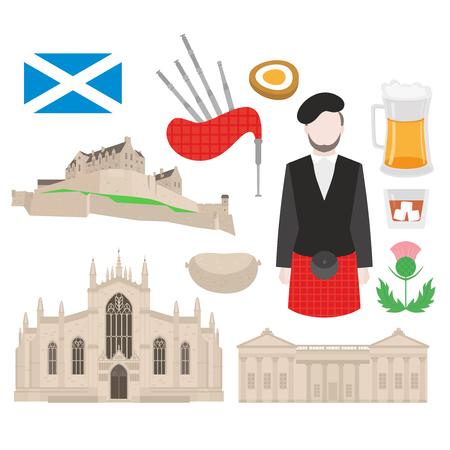 Flat building in Scotland, United Kingdom. Sightseeing and landmark. St Giles Cathedral and Edinburgh Castle. Traditional scottish food, Man bagpiper in kilt, flag and thistle sign