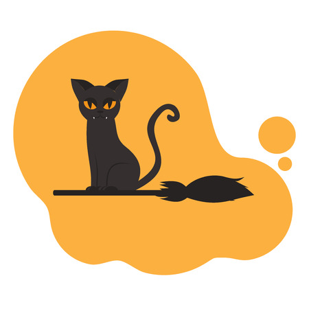 Flat Halloween greeting card with creepy cat on the broom for banner. Scary kitty party poster. Spooky pet silhouette.