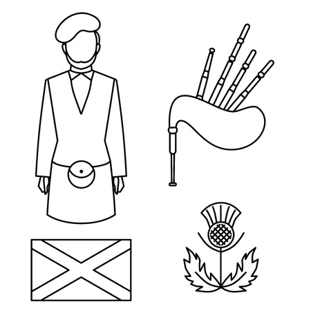 Line symbol of Scotland, United Kingdom. sightseeing Travel icon of Great Britain. Man bagpiper in national traditional clothing, scottish musical instrument bagpipe, flag and thistle sign