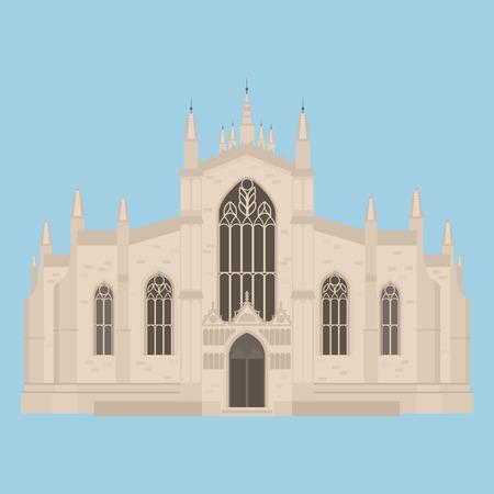 Edificio plano de la fachada de la catedral de St Giles de Edimburgo en Escocia, Reino Unido. Atracciones turísticas históricas. Hito de icono de viaje. Arquitectura de la ciudad de Gran Bretaña. Ilustración de vector