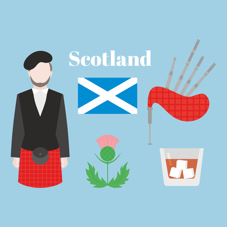 Flat symbol of Scotland, United Kingdom. Man bagpiper in national traditional clothing, scottish musical instrument bagpipe, whiskey, flag and thistle sign