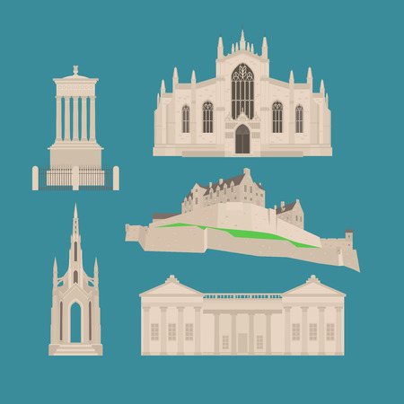 Flat building in Scotland, United Kingdom. Sightseeing and landmark. Architecture of Great Britain. St Giles Cathedral and Edinburgh Castle. Dugald Stewart and Scott Walter Monument Illustration