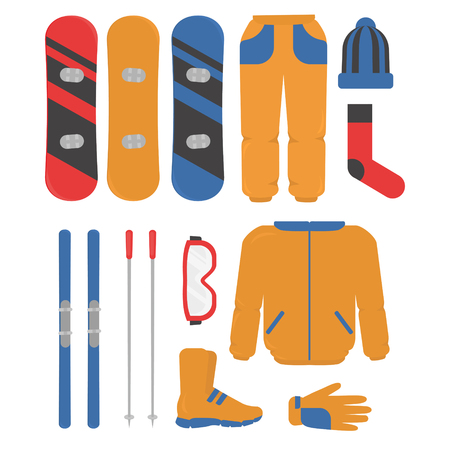 Set of winter sport equipment, skiing and snowboarding. helmet, snowboard, glasses, skii, hat, boots and gloves. ski resort activities.