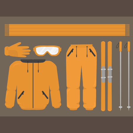 Set of flat winter skiing sport equipment and clothes. Thermal warm pants, jacket, glasses and gloves. Ski resort season activities.