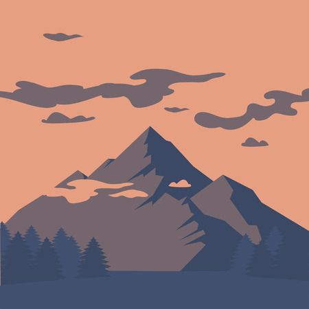Flat Mountain landscape silhouette. Camping travel climbing icon, hiking, trakking and geology trip nature element. Illustration