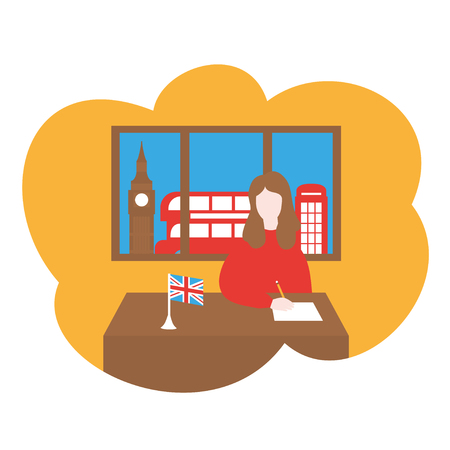 Cartoon Girl learning English abroad in London, flat travel course. Learn language in British school, foreign country education. Lingual trip