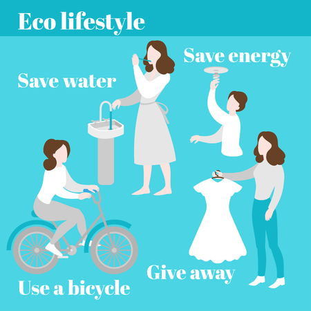 Eco lifestyle. Save water and energy. Evironment care, ecology protection. Second hand, charity and donation. Bycicle ecological transport. Responsible people