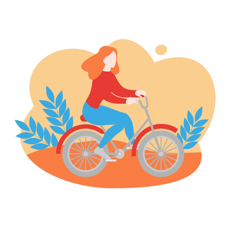 Healthy lifestyle, sports transport activity banner. Bicycle rent, cartoon girl character riding bike. Fitness in park.