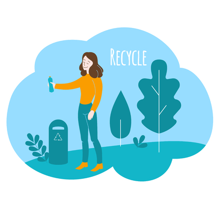Healthy lifestyle, environment care. Cartoon volunteer girl recycles in park. Flat Woman recycling plastic.