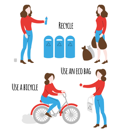 Healthy lifestyle poster. Eco shopping with organic reusable bag and ecological transport. Woman recycling plastic. Cartoon girl riding bicycle.