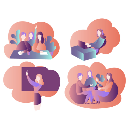 Speaking club, discussion class and online education elements. Cartoon students and teacher in school, team learning course. Conversation with friends Illustration
